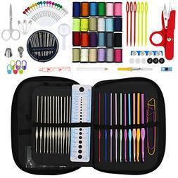 Hiveseen Sewing Kit & Crochet Hooks, 132 Pcs Mini Sewing Acc