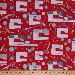 Sewing Machines Bernina Sewing Room Red Cotton Fabric Print