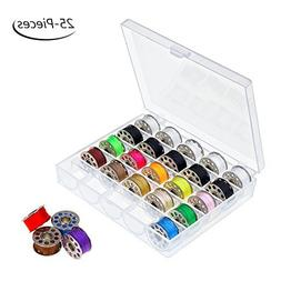 HAITRAL 25 Pcs Sewing Thread Bobbins with Bobbin Case Sewing