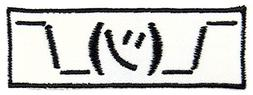 Shrug Emoji Embroidered Iron On Applique Patch - Black, Whit