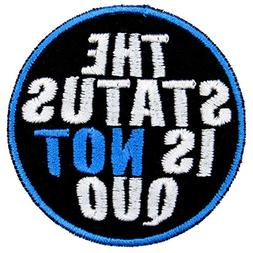 The Status is Not Quo Musical Iron On Patch Applique - Black