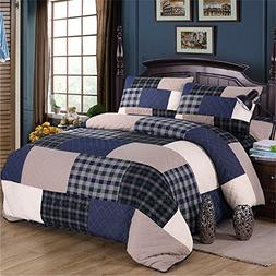 Summer Patchwork Quilt Sets Coverlet Bedspread Shams 3Pcs Re