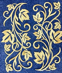 Two Hug Gold Flower Leaves Iron on Embroidered Appliques Pat