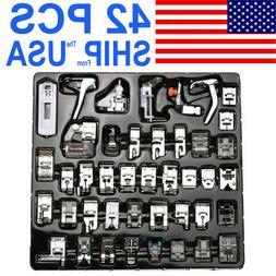 US 42pcs Sewing Machine Accessories Foot Presser Feet Set fo