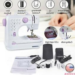 USA Portable Electric Sewing Machine Double Speed 12 Stitche
