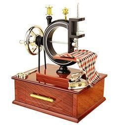 Yeefant Vintage Carved Mechanism Wind Up Music Box Mini Sewi