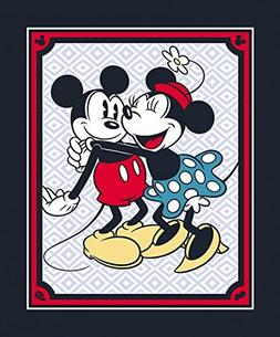 Vintage Style Mickey & Minnie Mouse Cotton Fabric Panel  44""