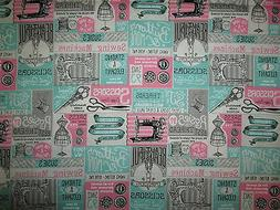 VINTAGE SEWING ITEMS MACHINES SCISSORS TEAL PINK COTTON FABR