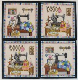 Vintage Sewing Machine Fabric Panels Stitch in Time 4 Quilt